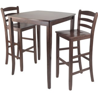 Winsome Inglewood 3-Piece Pub Dining Table with 2 Ladder Back Chairs