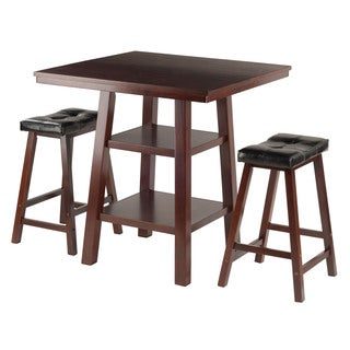 Winsome Orlando 3-Piece Dining Table Set with 2 Saddle Seat Stools