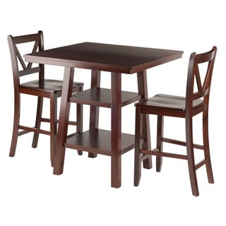 Winsome Orlando 3-Piece 2-Shelf Dining Table with V-back Chairs