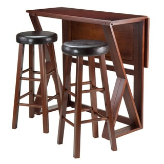Winsome Harrington 3-piece Walnut Dining Set With Drop Leaf Table
