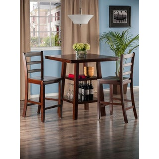 Winsome Orlando Wooden 3 Piece High Table Set with 2 Ladder Back Stools