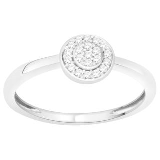 Trillion Designs S925 Sterling Silver 1/20 ct TDW Natural Diamond Cluster Promise Ring