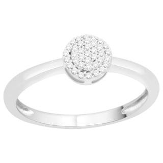 Trillion Designs Sterling Silver 1/10ct TDW Diamond Cluster Engagement Ring (H-I, I1-I2)