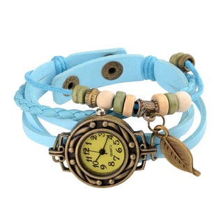 Zodaca Sky Blue Bohemian Multi-string Leather Watch Bracelet with Beaded Leaf Charm