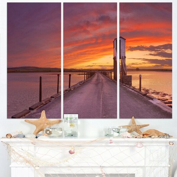 Holy Island of Lindisfarne Panorama - Wooden Sea Bridge Canvas Wall Art