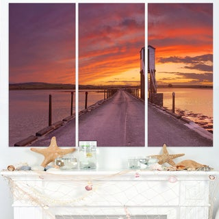 Holy Island of Lindisfarne Panorama - Wooden Sea Bridge Canvas Wall Art