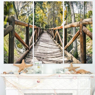 Wooden Bridge in Forest - Wooden Sea Bridge Canvas Wall Art