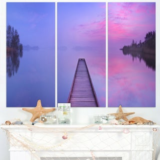 Jetty in a Dawn Lake - Wooden Sea Bridge Canvas Wall Art