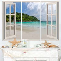 Open Window to Calm Seashore - Extra Large Seashore Canvas Art