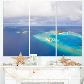 Aerial View of Maldives Island - Modern Seascape Canvas Artwork