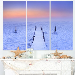Jetty in Frozen Lake Netherlands - Wooden Sea Bridge Canvas Wall Art
