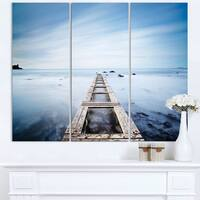Wooden Jetty in Morning Blue Sea - Oversized Landscape Wall Art Print