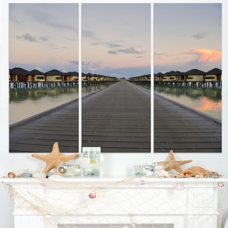 Wooden Bridge to Water Home Villas - Wooden Sea Bridge Canvas Wall Art