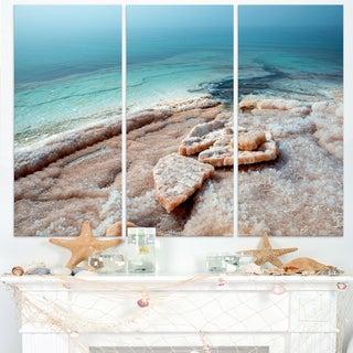 Dead Sea Beach with Crystallized Salt - Extra Large Seashore Canvas Art