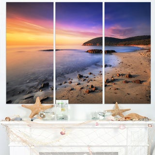 Sunset in Cala Violina Bay Beach - Extra Large Seashore Canvas Art
