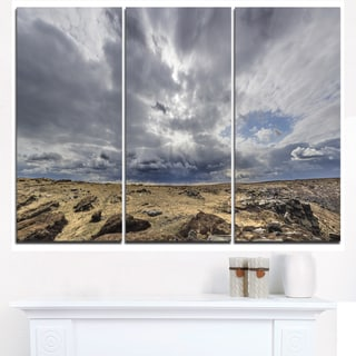 Sky and Stones under Dark Clouds - Landscape Artwork Canvas