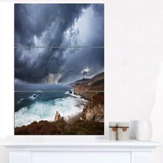 Heavy Blue Clouds and Waves - Modern Beach Canvas Art Print