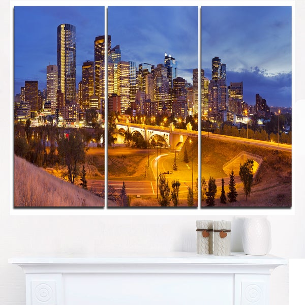 Shop Skyline of Calgary at Night Panorama - Modern Cityscape Canvas ...