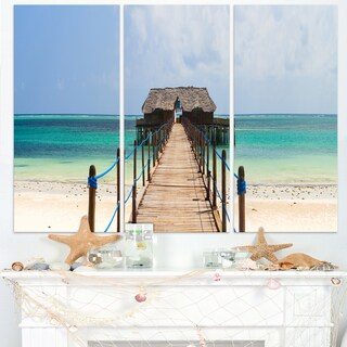 Exotic Wood Jetty at Zanzibar Island - Wooden Sea Bridge Canvas Wall Art