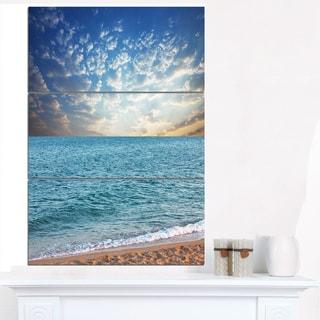 Fasting Moving Clouds Over Blue Beach - Modern Beach Canvas Art Print