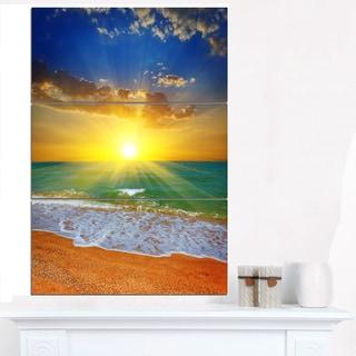 Dramatic Seashore Sky in Yellow - Modern Beach Canvas Art Print