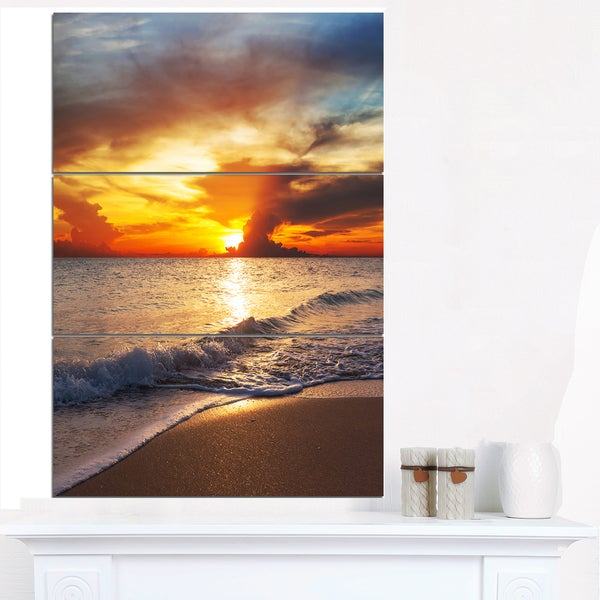 Yellow Sunset over Gloomy Beach - Modern Beach Canvas Art Print
