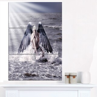 Woman with Dark Angel Wings - Modern Beach Canvas Art Print