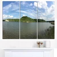 Wide Lake Trees Sky Landscape - Landscape Artwork Canvas - Blue