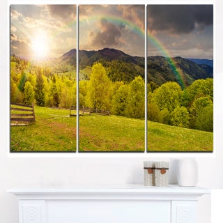 Fence on Hillside Meadow Panorama - Landscape Artwork Canvas