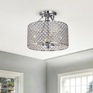 Neptune Iron and Glass 4-light Semi-flush Ceiling Light