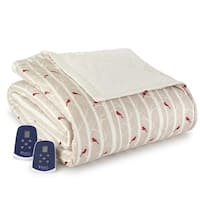 Cardinal Pattern Quilted Flannel Electric Blanket