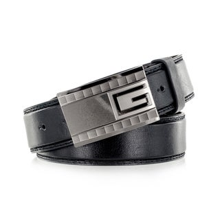 Faddism Men's Black Genuine Leather Belt with 'G' Emblem