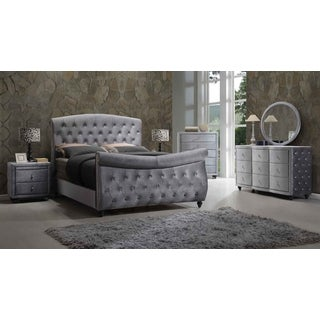 Meridian Hudson Grey Velvet 5-piece Sleigh Bedroom Set