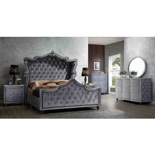 Meridian Hudson Grey Velvet 5 Piece Canopy Bedroom Set
