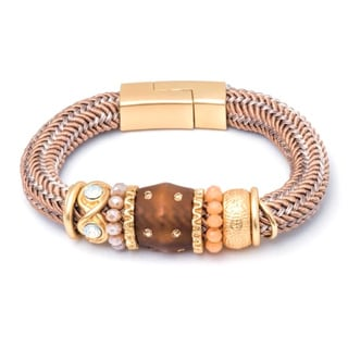 Jewel 18k Gold-plated Brass Magnetic Bead and Charm Bracelet
