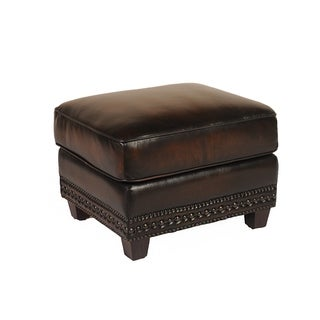 Prato Leather Ottoman by Lazzaro Leather