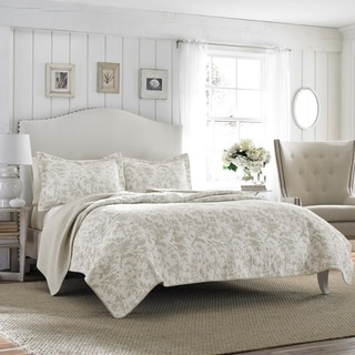 Laura Ashley Amberley Bisquit Reversible 3-piece Cotton Quilt Set (As Is Item)