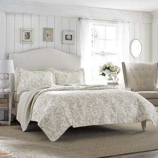 Laura Ashley Amberley Bisquit Reversible 3-piece Cotton Quilt Set (As Is Item)|https://ak1.ostkcdn.com/images/products/12237510/P91003184.jpg?impolicy=medium