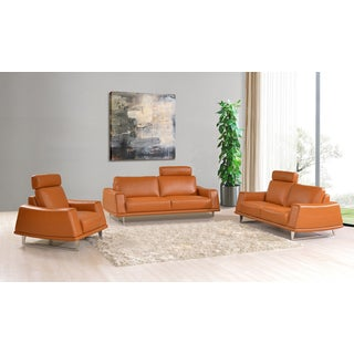 Luca Home 3-Piece Orange Sofa Set with adjustable headrest