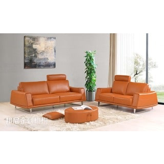 Luca Home 2-Piece Orange Sofa Set with adjustable headrest