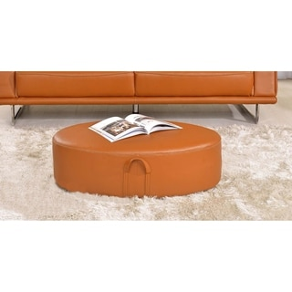 Luca Home Orange Leather Ottoman