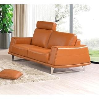 Luca Home Orange Split Leather Loveseat