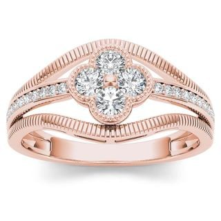 De Couer 10k Rose Gold 1/3ct TDW Diamond Fashion Ring