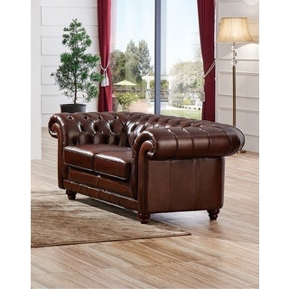 Luca Home Split Brown Leather Sofa