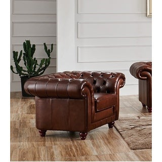 Brown Split Leather Chair