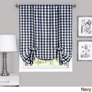 Achim Cotton Blend 63-inch Long Buffalo-check Window Tie-Up Shade (Option: Navy)