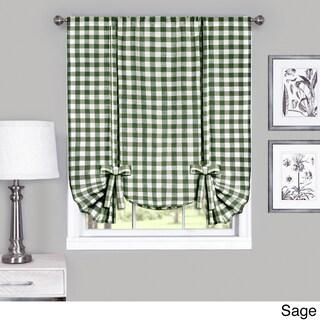 Achim Cotton Blend 63-inch Long Buffalo-check Window Tie-Up Shade