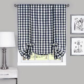 Achim Cotton Blend 63-inch Long Buffalo-check Window Tie-Up Shade - 42 x 63|https://ak1.ostkcdn.com/images/products/12237716/P19080873.jpg?impolicy=medium