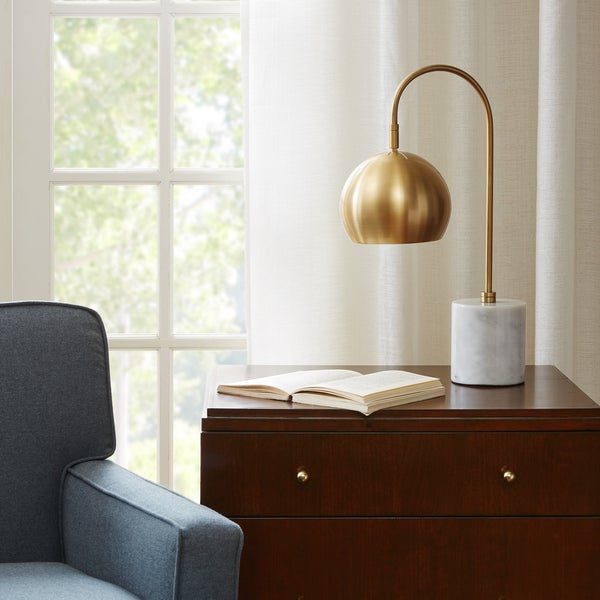 Madison Park Signature Halsey White/Gold Table Lamp