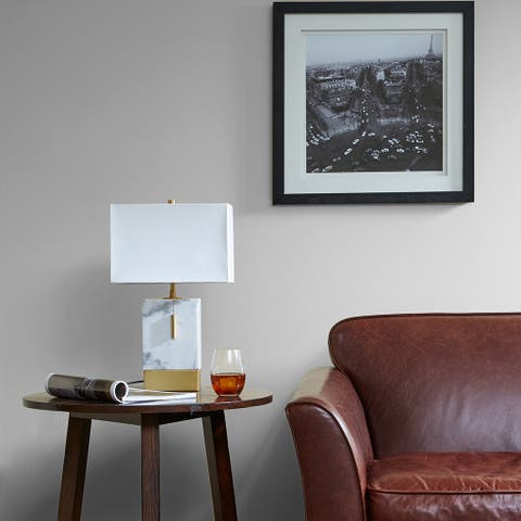 Carson Carrington Alftanes White/ Gold Medium Table Lamp